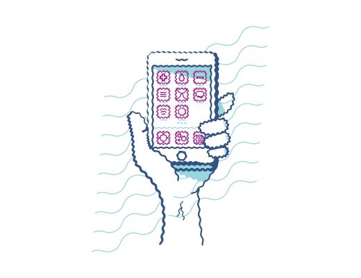Eldeki bir telefonun bozuk görülmesiyle ilgili bir çizim