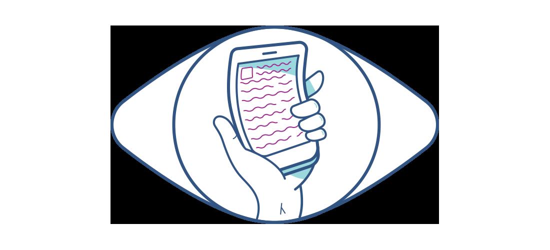 Cep telefonunun bozuk bir şekilde görüldüğü bir çizim